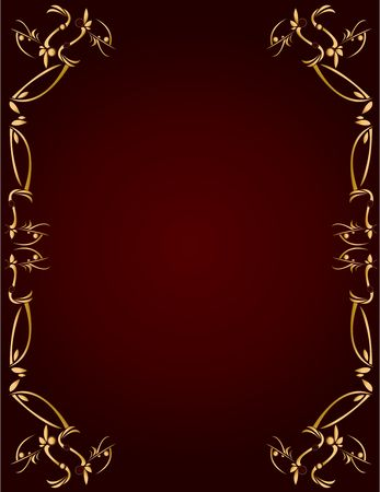 Gold abstract design on a burgundy background with space for copy