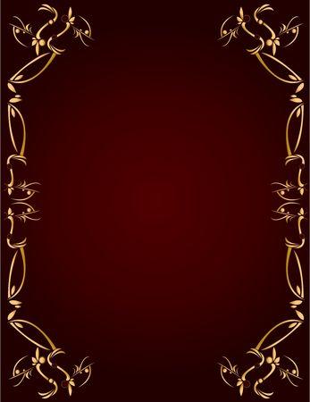 Resumen de diseño de oro en un fondo de Borgoña con el espacio para la copia Foto de archivo - 5162056