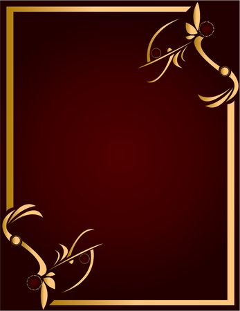Gold abstract design on a burgundy background with space for copy photo