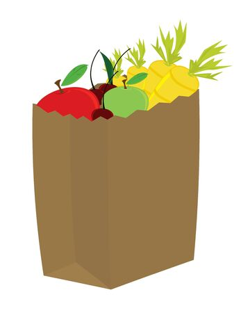 Fruit and vegetables in a brown paper bag isolated on white photo