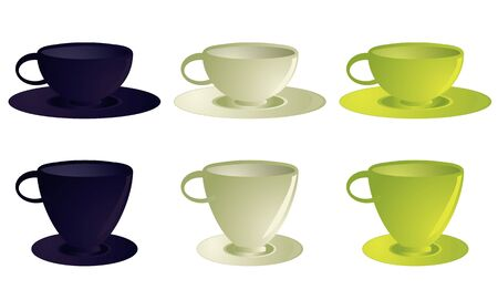 Several variations of empty teacups on saucers in blue, white, and yellow each isolate on a white background Stock Photo