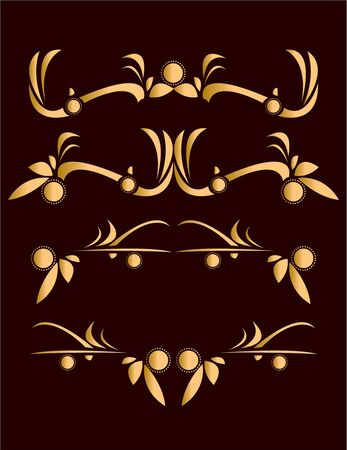 Gold abstract design elements on a dark red background