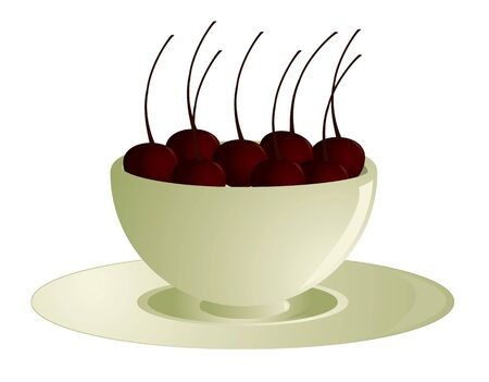 Bowl of cherries on a saucer isolated on a white background
