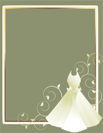 White wedding dress design in the lower right corner of a white and gold frame all on a gray background