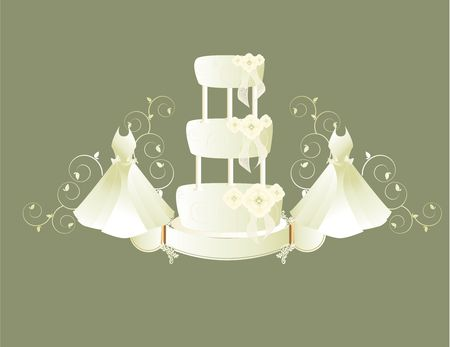 either: Two white wedding dresses on either side of a three tier cake all on a gray background