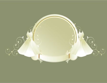 either: Two white wedding dresses on either side of a circular frame with banner on a gray background