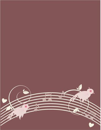 Pink birds on a white design with musical notes on a purple background   Stock Photo