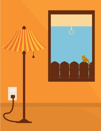 plugged: Plugged in tall standing lamp in an orange room next to a window that looks out on blue sky and a brown bird on a fence  Stock Photo