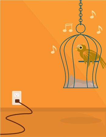 Brown bird in a wire hanging cage chirping musical notes in an orange room with an electrical outlet  photo