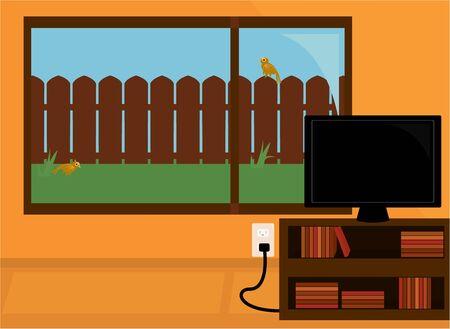 Oranje kamer met een flatscreen tv op een boekenplank voor een groot raam kijkt uit in een groene achtertuin met een houten hek