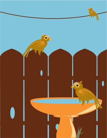 Three brown birds outside on a wire, wood fence, and bird bath under a blue sky