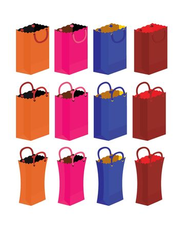 Gift bags with handles isolated on a white background Stock Photo