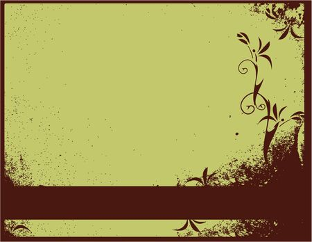 Brown distressed floral background with bar