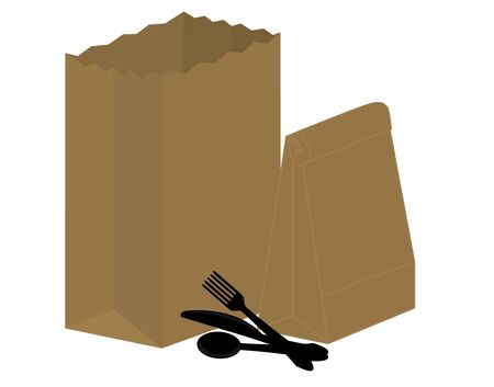Two brown paper bags and black plastic silverware on a white background