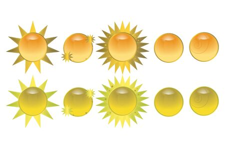 Orange and yellow glossy sun buttons on a white background Stock Photo