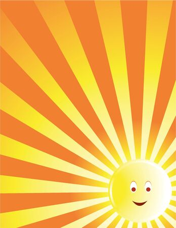 Yellow and orange sun background with a smiling face