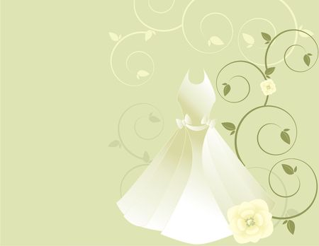 White gown with floral designs on a light gray background