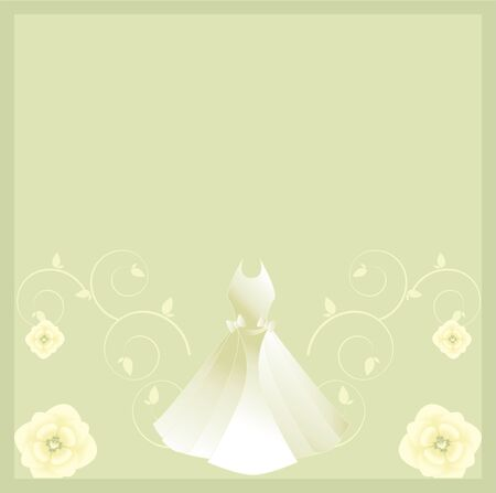 white background: White gown with floral designs on a light gray background
