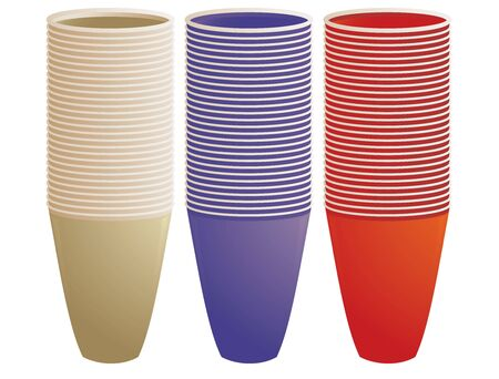 Three sets of cups stacked on a white background Stok Fotoğraf