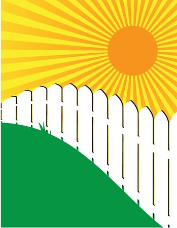 White fence on green grass with a sunny sky