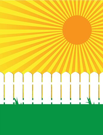 White fence on green grass with a sunny sky Stock Photo - 5301461