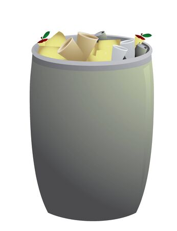 Gray trash can filled and isolated on a white background Stock fotó - 5301460