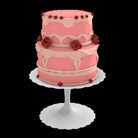 Pink two layer cake on stand isolated on a black background Stock Photo