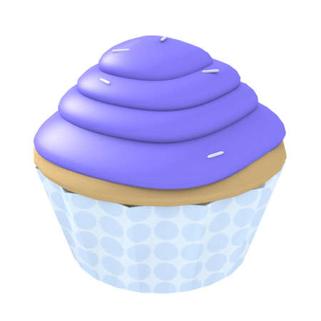 frosting: 3d generated cupcake with blue frosting and sprinkles isolated on a white background Stock Photo