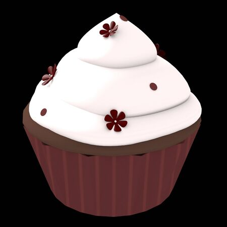 3D generated chocolate cupcake with white frosting and flower decoration on a black background photo