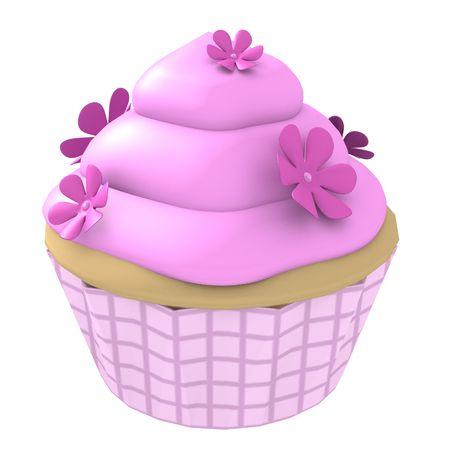 3D gegenereerde cupcake met roze glazuur en bloemen geïsoleerd op een witte achtergrond Stockfoto