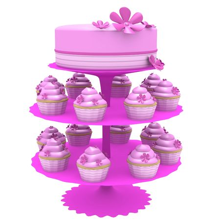 3D generated cupcakes and pink cake on a multilevel stand all isolated on a white background