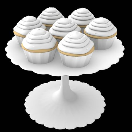 3D generated cupcakes on stand on a solid black background Imagens