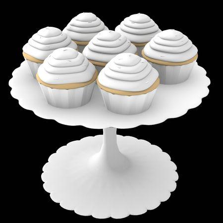 Cupcakes 3D generados en el stand sobre un fondo negro sólido Foto de archivo - 5540186