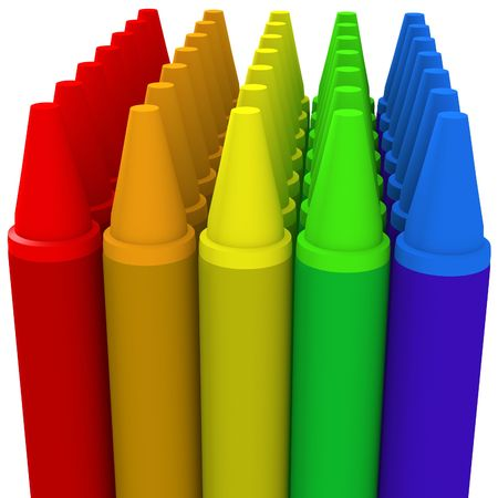 3D generated rows  of multicolored crayons
