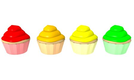 lined up: Four 3d generated cupcakes lined up on a white background in red, orange, yellow, and green colors Stock Photo