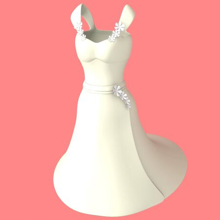 Computer generated 3d model of a white dress with flower details on a pink background