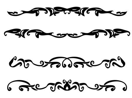 Black asymmetric design elements on a white background