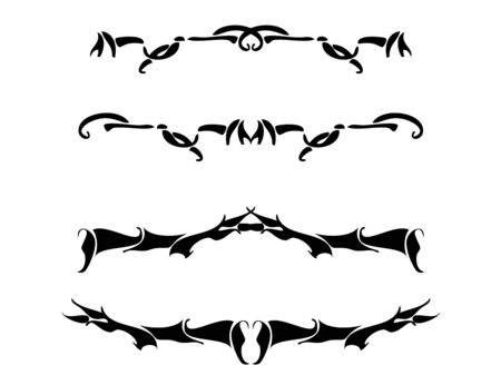 Black asymmetric design elements on a white background