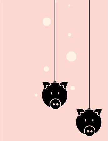 Two black pig heads on a pink background