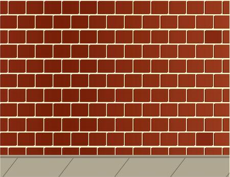 煉瓦の壁と灰色の歩道の背景 写真素材