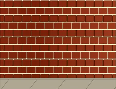 Brick wall and gray sidewalk background