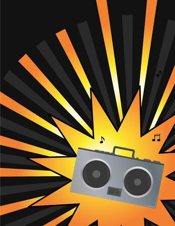 Orange and gray ray background with stereo and musical notes
