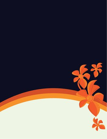 Orange abstract flowers and stripes on a solid blue background