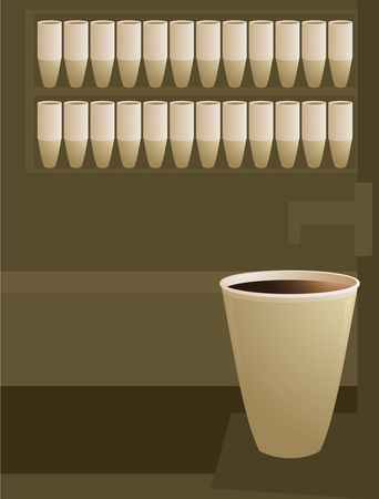 coffee cup scene in brown and tan colors Stock Photo