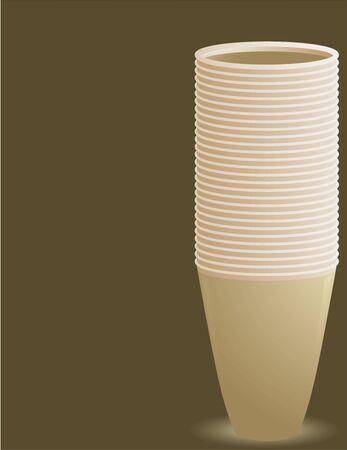Lege cups stack op de rechterkant van een bruine achtergrond met copyspace Stockfoto