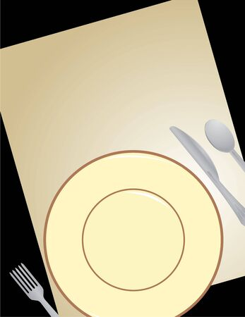 tilted: Tilted plate, silverware, and paper on a black background