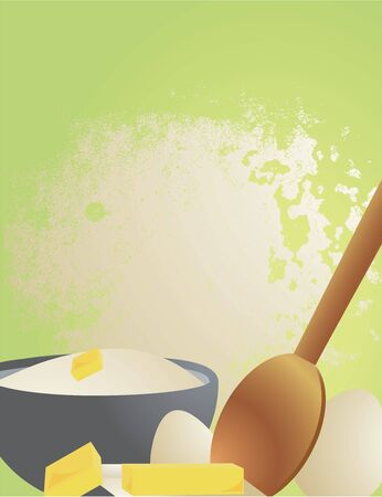 Flour, butter, eggs, and spoon on a green background