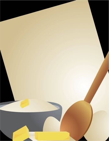 flour, butter, eggs, a wooden spoon, and paper on a black background