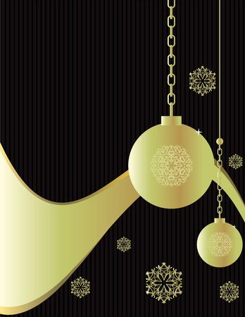 Gold ornaments and snowflakes hangin on a black and gray striped background Stock Photo
