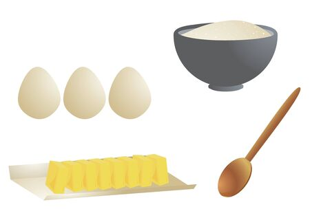 Cooking ingredients including eggs, butter, a wooden spoon, and a gray bowl of flour isolated on a white background